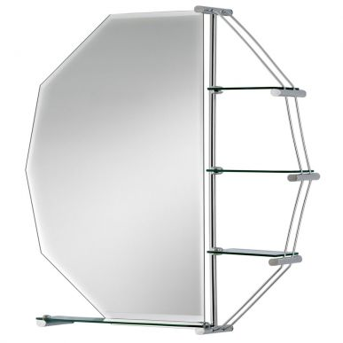 Cheapsuites Octagon Bathroom Mirror with Shelves