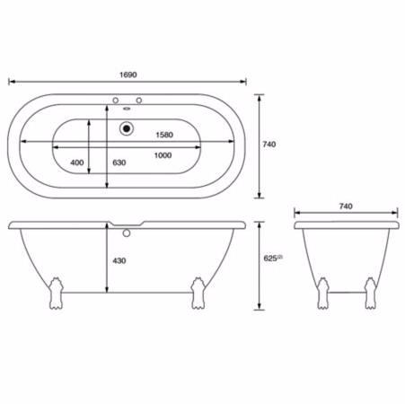 Cooke lewis freestanding rolltop bath bathrooms plus for Freestanding bath sizes