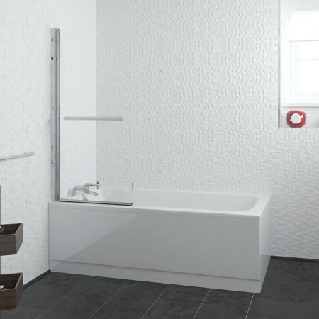 1600mm Curve Ended Straight Bath, Screen