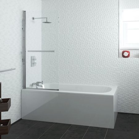 1600mm Curve Ended Straight Bath, Screen, Waste