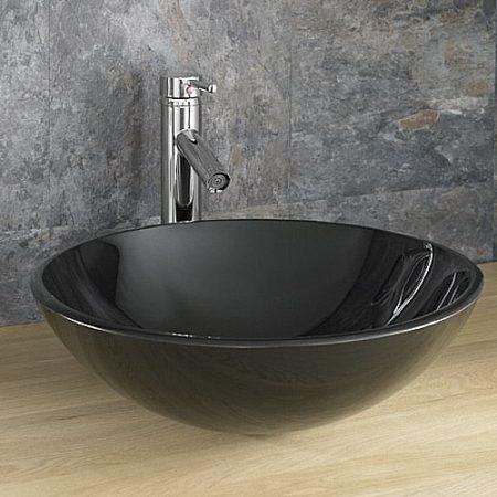 round black glass countertop basin