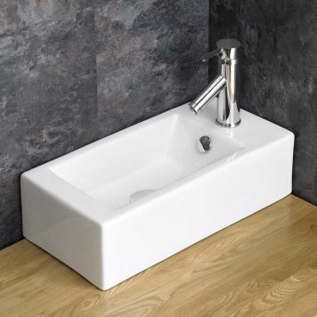 Cloakroom Sized Lucca Right Counter Mounted 50cm Rectangular Basin