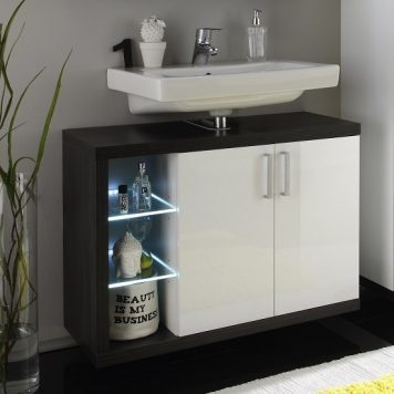 Forum Vanity Unit In Smoky Silver High Gloss Fronts With LED